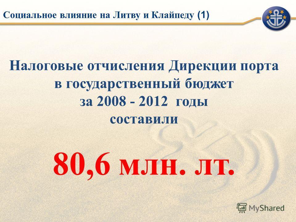 Налоговые отчисления Дирекции порта в государственный бюджет за 2008 - 2012 годы составили 80,6 млн. лт. Социальное влияние на Литву и Клайпеду (1)