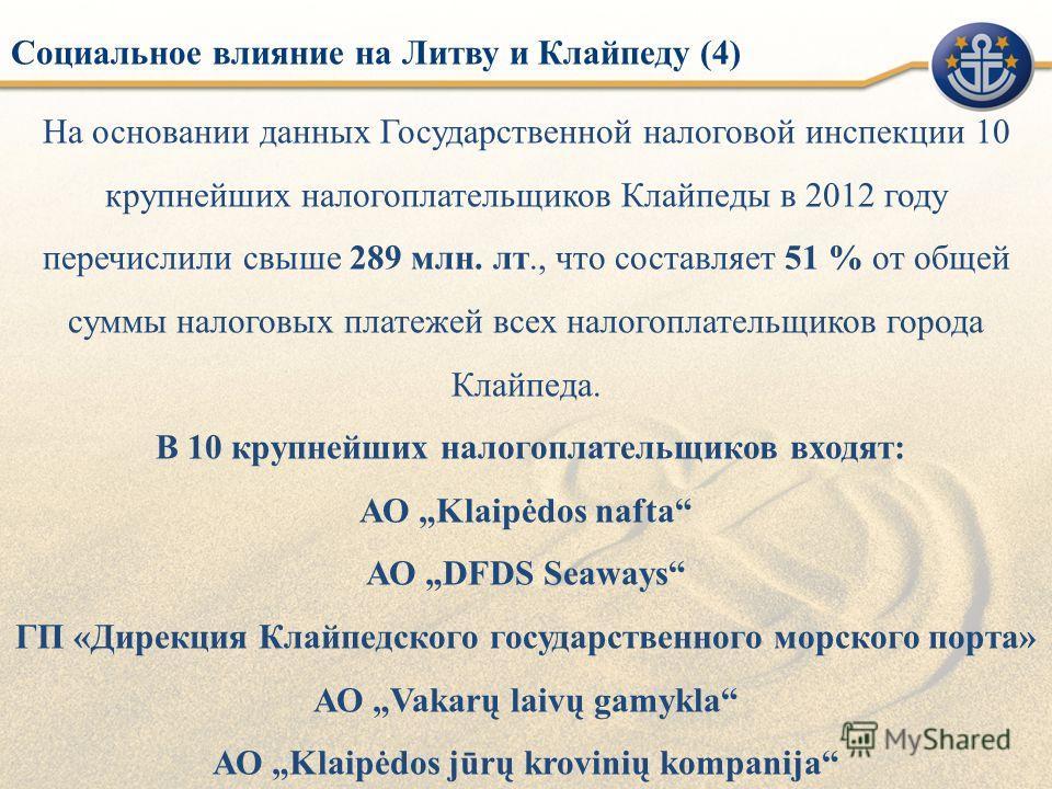 На основании данных Государственной налоговой инспекции 10 крупнейших налогоплательщиков Клайпеды в 2012 году перечислили свыше 289 млн. лт., что составляет 51 % от общей суммы налоговых платежей всех налогоплательщиков города Клайпеда. В 10 крупнейш