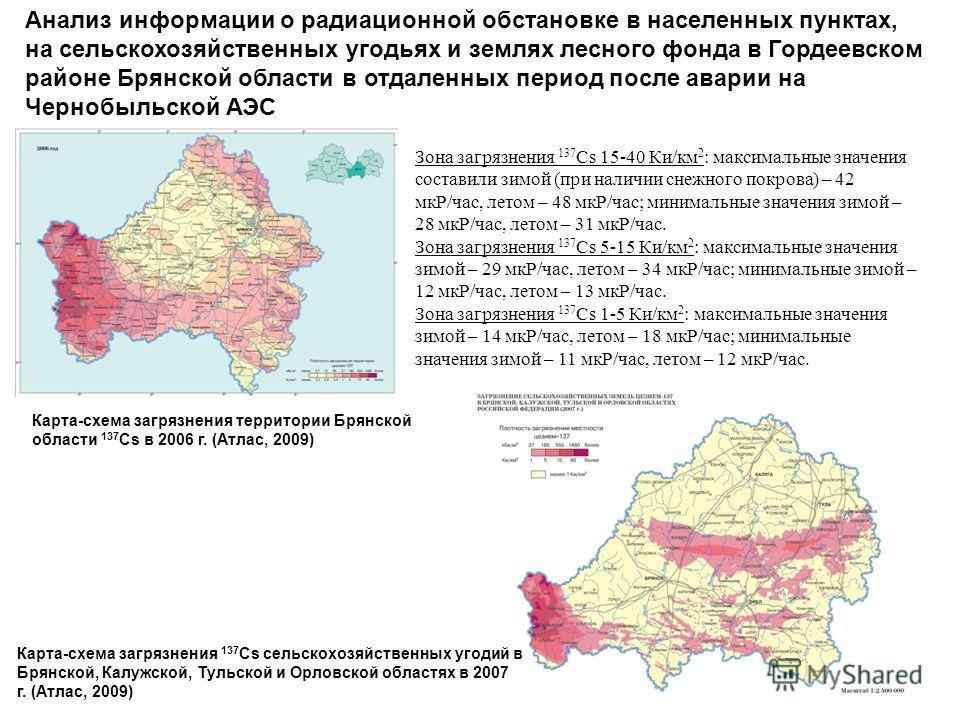 Анализ информации о радиационной обстановке в населенных пунктах, на сельскохозяйственных угодьях и землях лесного фонда в Гордеевском районе Брянской области в отдаленных период после аварии на Чернобыльской АЭС Карта-схема загрязнения территории Бр