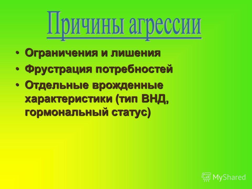 Ограничения и лишенияОграничения и лишения Фрустрация потребностейФрустрация потребностей Отдельные врожденные характеристики (тип ВНД, гормональный статус)Отдельные врожденные характеристики (тип ВНД, гормональный статус)