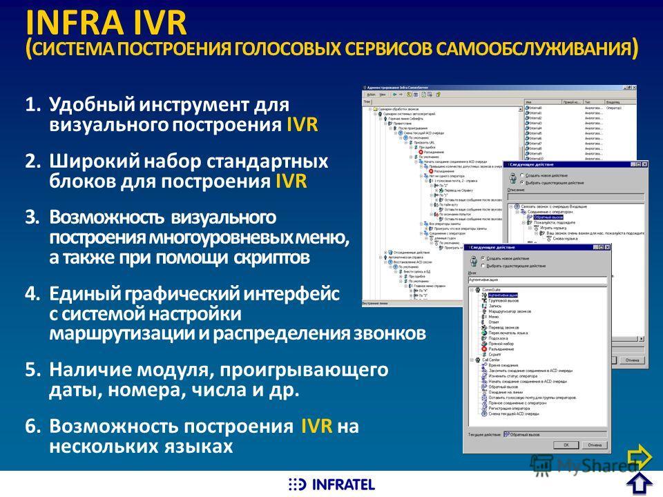 INFRA IVR ( СИСТЕМА ПОСТРОЕНИЯ ГОЛОСОВЫХ СЕРВИСОВ САМООБСЛУЖИВАНИЯ ) 1.Удобный инструмент для визуального построения IVR 2.Широкий набор стандартных блоков для построения IVR 3.Возможность визуального построения многоуровневых меню, а также при помощ