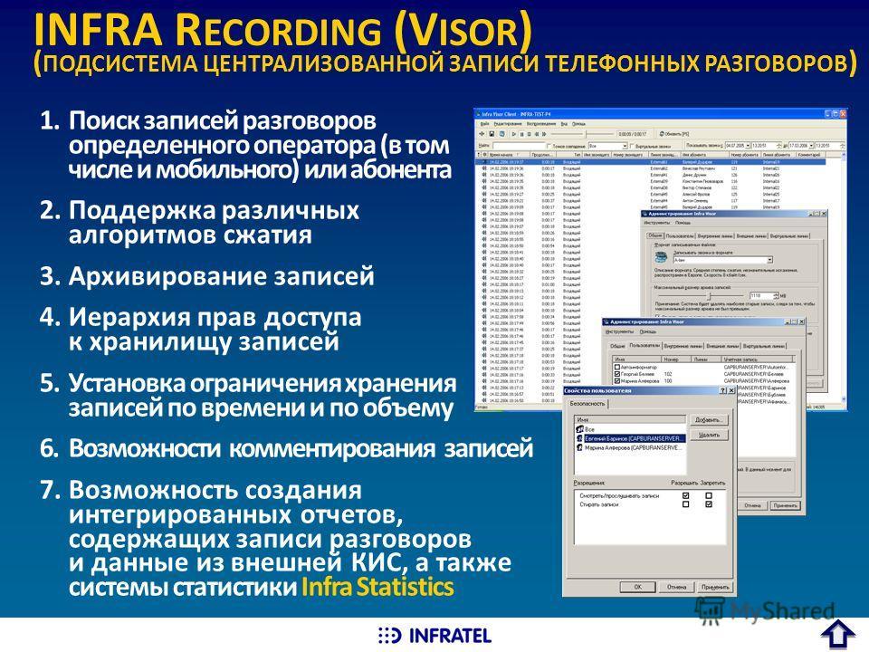 INFRA R ECORDING (V ISOR ) ( ПОДСИСТЕМА ЦЕНТРАЛИЗОВАННОЙ ЗАПИСИ ТЕЛЕФОННЫХ РАЗГОВОРОВ ) 1.Поиск записей разговоров определенного оператора (в том числе и мобильного) или абонента 2.Поддержка различных алгоритмов сжатия 3.Архивирование записей 4.Иерар