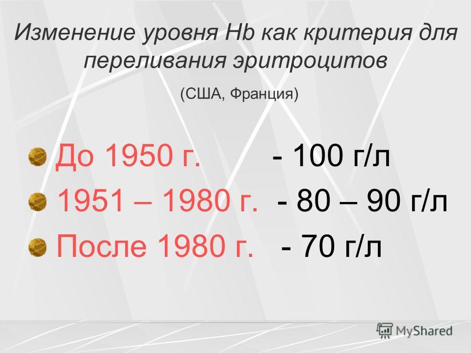 Изменение уровня Hb как критерия для переливания эритроцитов (США, Франция) До 1950 г. - 100 г/л 1951 – 1980 г. - 80 – 90 г/л После 1980 г. - 70 г/л