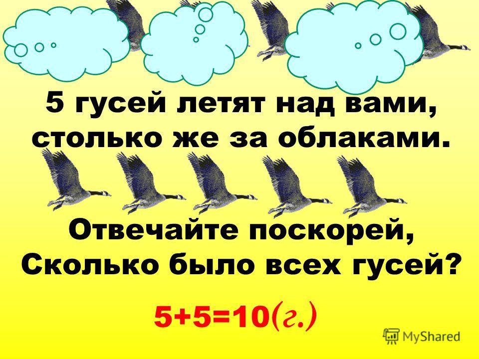 5 гусей летят над вами, столько же за облаками. Отвечайте поскорей, Сколько было всех гусей? 5+5=10 (г.)