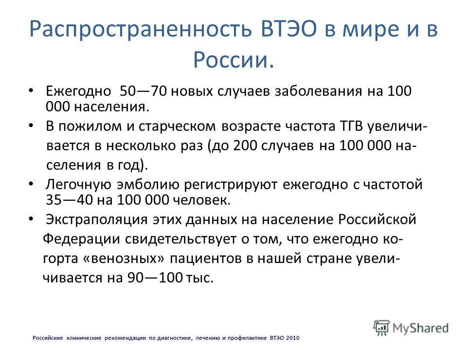 Распространенность ВТЭО в мире и в России. Ежегодно 5070 новых случаев заболевания на 100 000 населения. В пожилом и старческом возрасте частота ТГВ увеличи- вается в несколько раз (до 200 случаев на 100 000 на- селения в год). Легочную эмболию регис