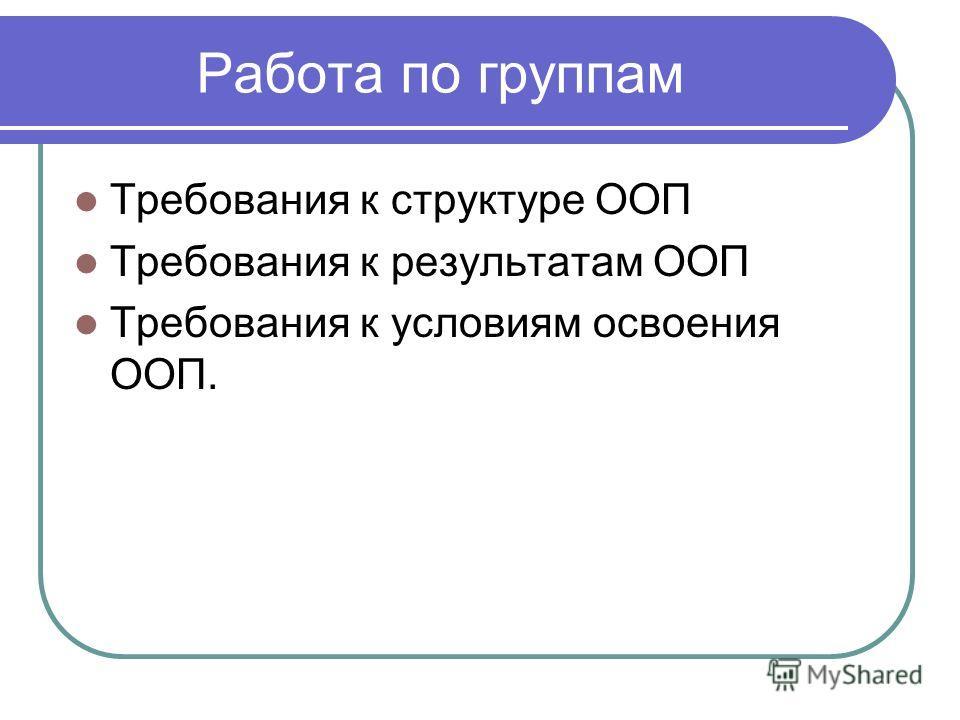 Работа по группам Требования к структуре ООП Требования к результатам ООП Требования к условиям освоения ООП.