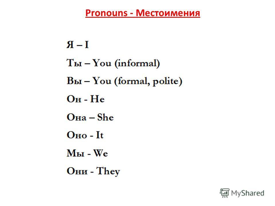 Pronouns - Местоимения