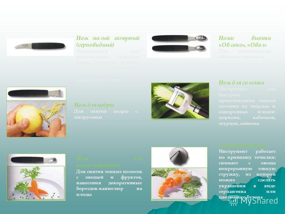 Нож малый загнутый (серповидный) Используется для изготовления округлых форм. Идеально походит для вырезания дуг и кривых линий, лепестков и узоров Ножи выемки «Облако», «Овал» Для изготовления объёмных фигурок Нож для цедры Для снятия цедры с цитрус
