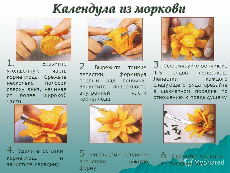 Календула из моркови 6. Сделайте тычинки из гвоздики(специя) 5. Ножницами придайте лепесткам нужную форму 4. Удалите остатки корнеплода и зачистите середину 3. Сформируйте венчик из 4-5 рядов лепестков. Лепестки каждого следующего ряда срезайте в шах
