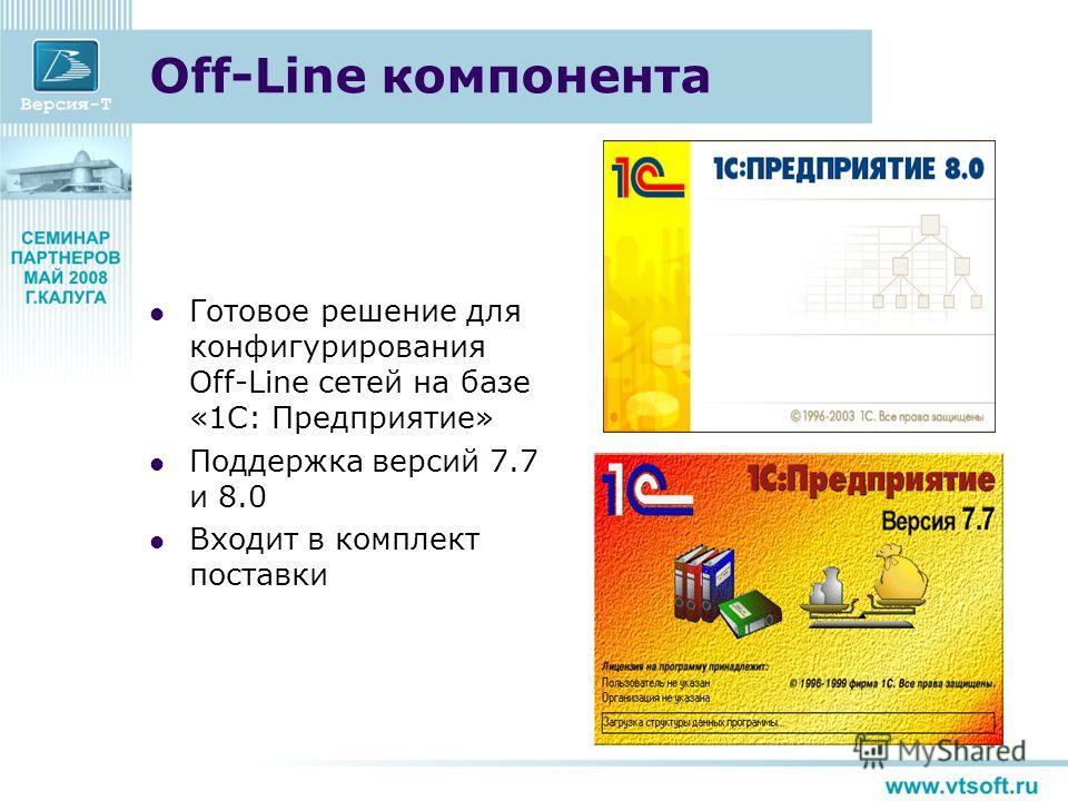 Off-Line компонента Готовое решение для конфигурирования Off-Line сетей на базе «1С: Предприятие» Поддержка версий 7.7 и 8.0 Входит в комплект поставки