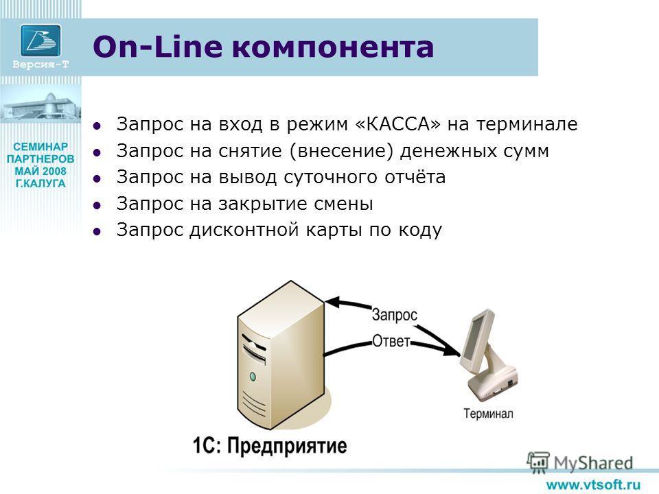 On-Line компонента Запрос на вход в режим «КАССА» на терминале Запрос на снятие (внесение) денежных сумм Запрос на вывод суточного отчёта Запрос на закрытие смены Запрос дисконтной карты по коду