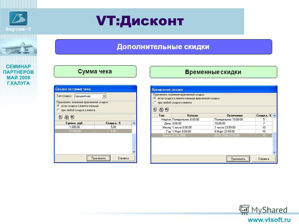 Сумма чека Временные скидки VT:Дисконт Дополнительные скидки