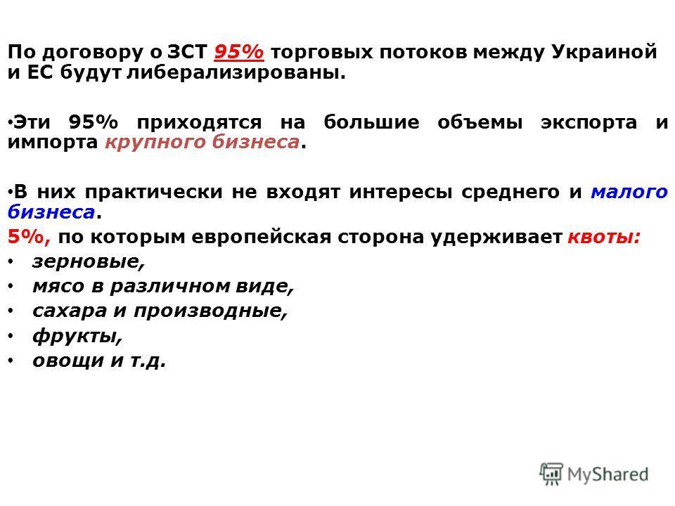 По договору о ЗСТ 95% торговых потоков между Украиной и ЕС будут либерализированы. Эти 95% приходятся на большие объемы экспорта и импорта крупного бизнеса. В них практически не входят интересы среднего и малого бизнеса. 5%, по которым европейская ст