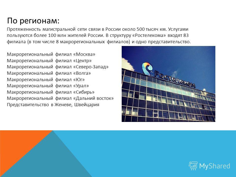 По регионам: Протяженность магистральной сети связи в России около 500 тысяч км. Услугами пользуются более 100 млн жителей России. В структуру «Ростелекома» входят 83 филиала (в том числе 8 макрорегиональных филиалов) и одно представительство. Макрор