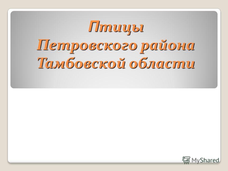 Птицы Петровского района Тамбовской области