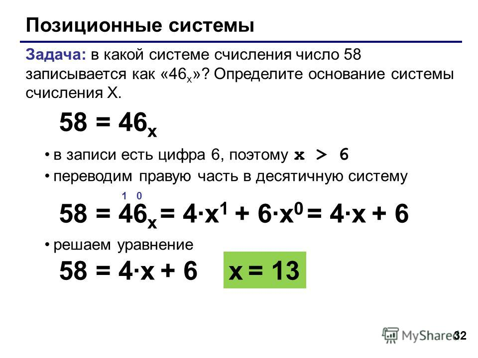 32 Позиционные системы Задача: в какой системе счисления число 58 записывается как «46 x »? Определите основание системы счисления X. в записи есть цифра 6, поэтому x > 6 переводим правую часть в десятичную систему решаем уравнение 58 = 46 x 1 0 58 =