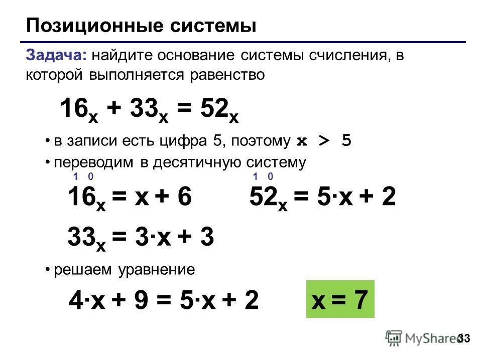 33 Позиционные системы Задача: найдите основание системы счисления, в которой выполняется равенство в записи есть цифра 5, поэтому x > 5 переводим в десятичную систему решаем уравнение 16 x + 33 x = 52 x 1 0 16 x = x + 6 x = 7 1 0 52 x = 5·x + 2 4·x