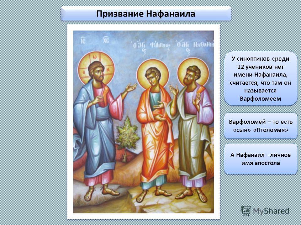 Призвание Нафанаила У синоптиков среди 12 учеников нет имени Нафанаила, считается, что там он называется Варфоломеем Варфоломей – то есть «сын» «Птоломея» А Нафанаил –личное имя апостола