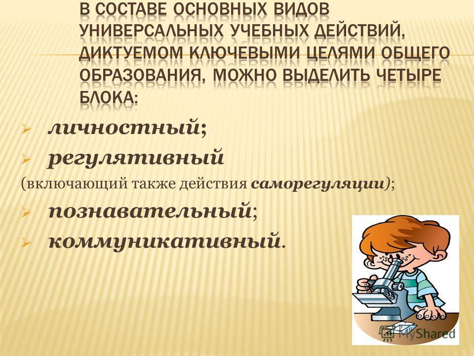 личностный; регулятивный (включающий также действия саморегуляции); познавательный; коммуникативный.