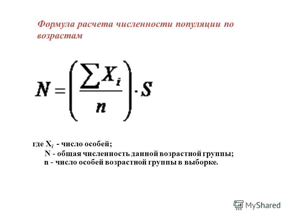 Формула расчета численности популяции по возрастам где X i - число особей; N - общая численность данной возрастной группы; n - число особей возрастной группы в выборке.