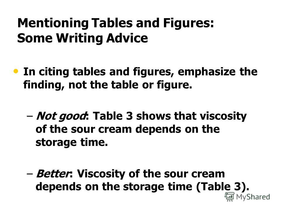 Mentioning Tables and Figures: Some Writing Advice In citing tables and figures, emphasize the finding, not the table or figure. – –Not good: Table 3 shows that viscosity of the sour cream depends on the storage time. – –Better: Viscosity of the sour