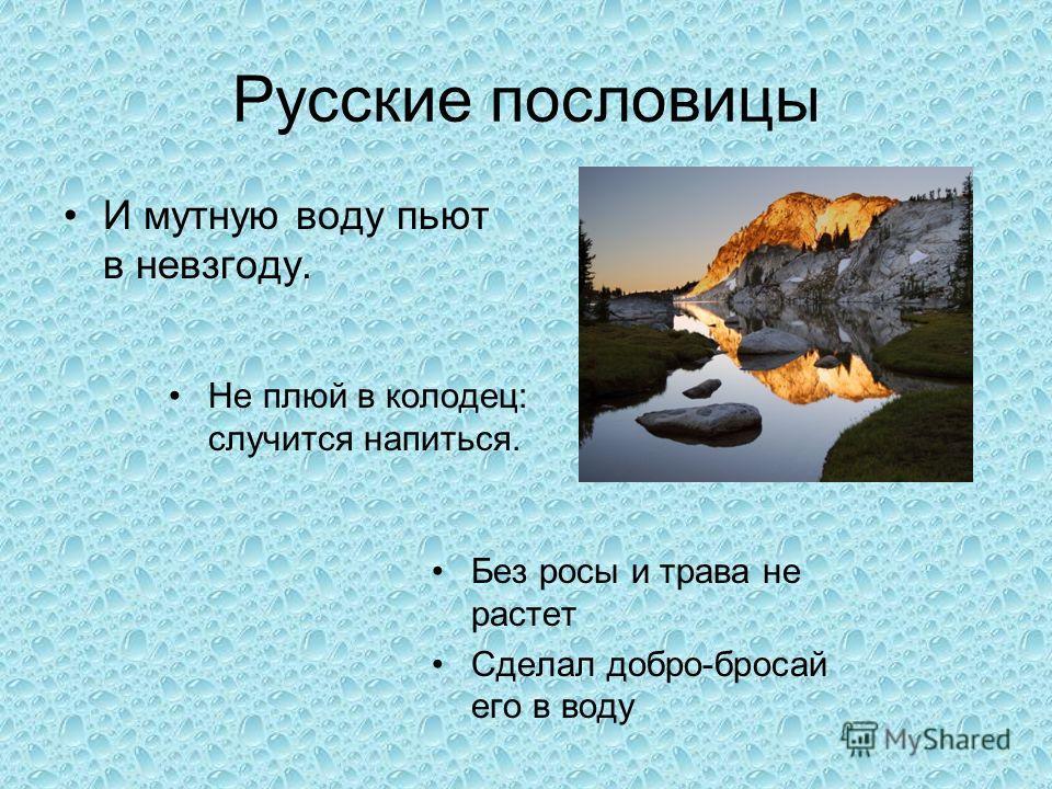 Русские пословицы И мутную воду пьют в невзгоду. Не плюй в колодец: случится напиться. Без росы и трава не растет Сделал добро-бросай его в воду