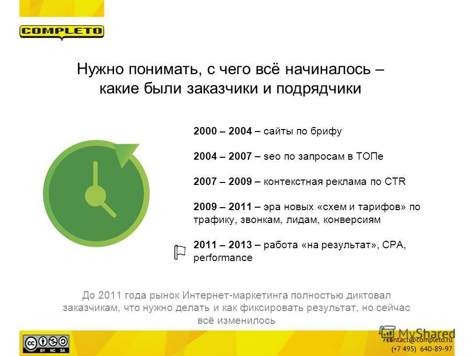 Нужно понимать, с чего всё начиналось – какие были заказчики и подрядчики 2000 – 2004 – сайты по брифу 2004 – 2007 – seo по запросам в ТОПе 2007 – 2009 – контекстная реклама по CTR 2009 – 2011 – эра новых «схем и тарифов» по трафику, звонкам, лидам,