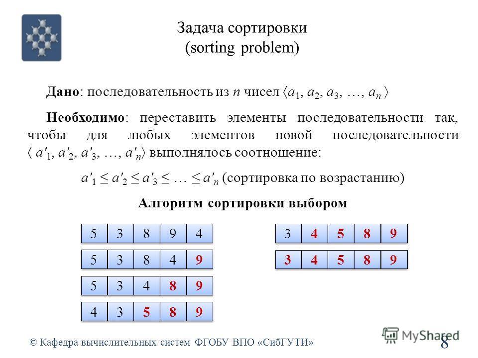 Задача сортировки (sorting problem) © Кафедра вычислительных систем ФГОБУ ВПО «СибГУТИ» 8 Дано: последовательность из n чисел a 1, a 2, a 3, …, a n Необходимо: переставить элементы последовательности так, чтобы для любых элементов новой последователь