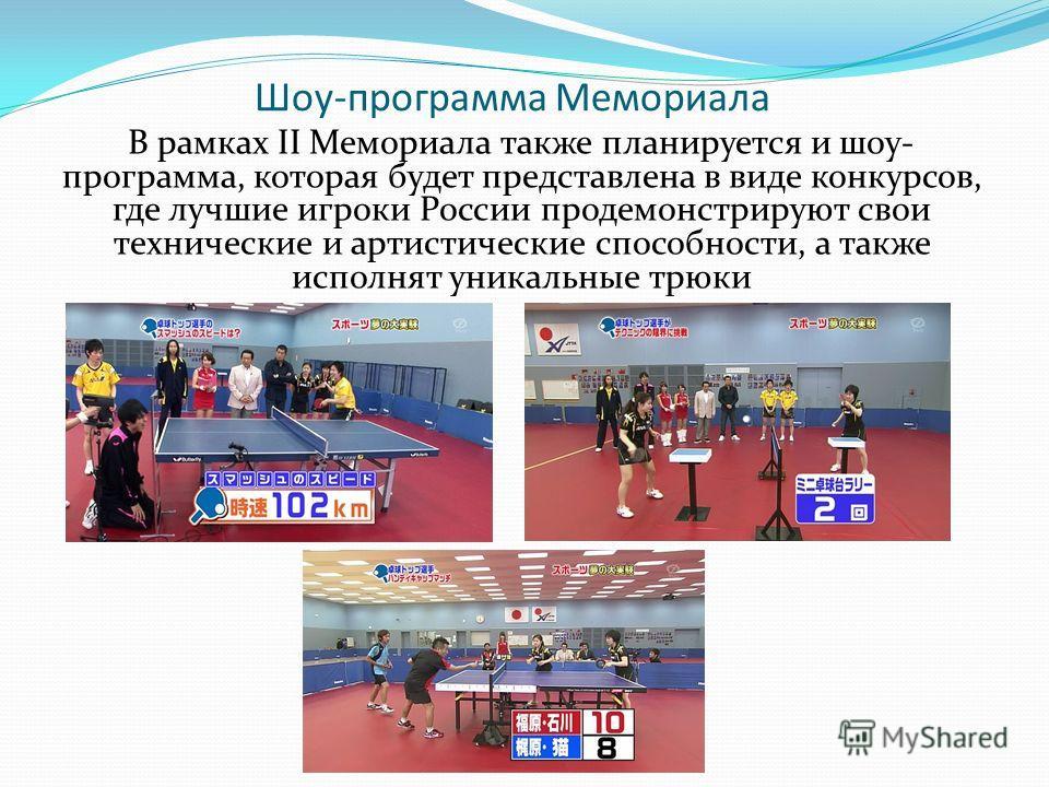 Шоу-программа Мемориала В рамках II Мемориала также планируется и шоу- программа, которая будет представлена в виде конкурсов, где лучшие игроки России продемонстрируют свои технические и артистические способности, а также исполнят уникальные трюки