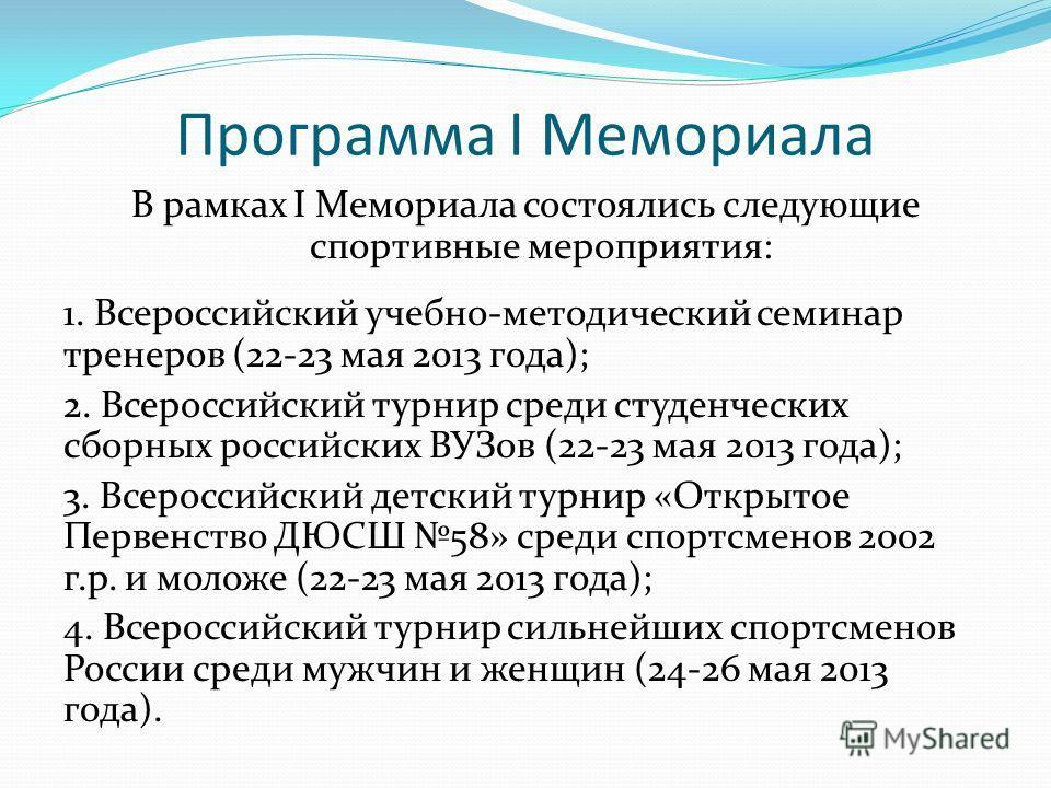 Программа I Мемориала В рамках I Мемориала состоялись следующие спортивные мероприятия: 1. Всероссийский учебно-методический семинар тренеров (22-23 мая 2013 года); 2. Всероссийский турнир среди студенческих сборных российских ВУЗов (22-23 мая 2013 г