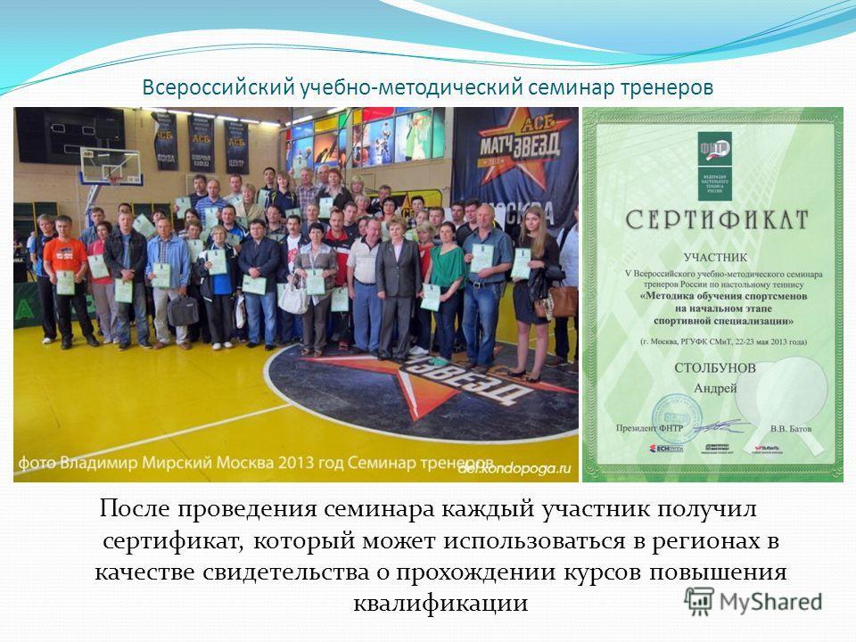 После проведения семинара каждый участник получил сертификат, который может использоваться в регионах в качестве свидетельства о прохождении курсов повышения квалификации Всероссийский учебно-методический семинар тренеров