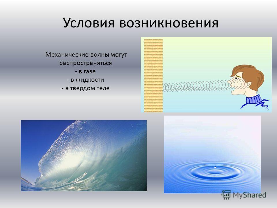 Механические волны могут распространяться - в газе - в жидкости - в твердом теле Условия возникновения