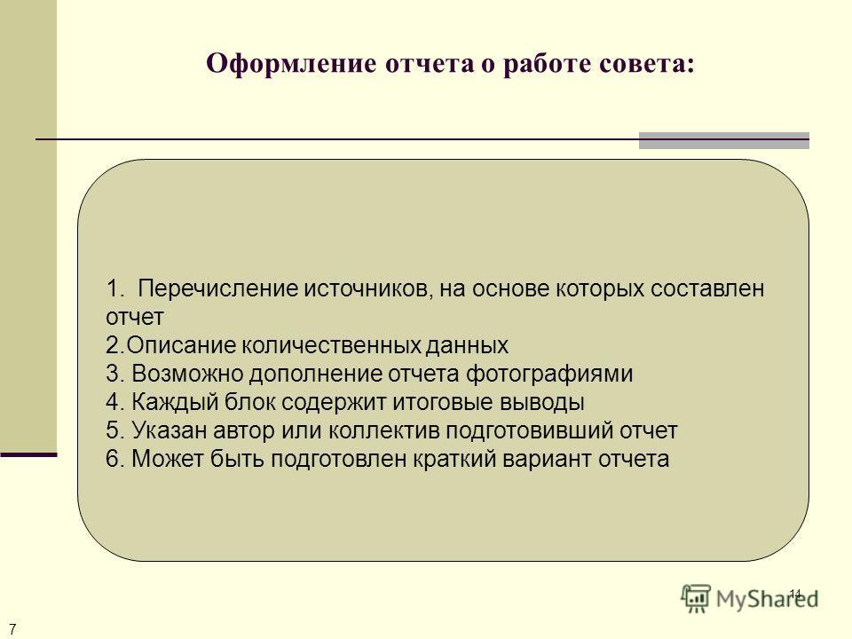 14 Оформление отчета о работе совета: 7 1.Перечисление источников, на основе которых составлен отчет 2.Описание количественных данных 3. Возможно дополнение отчета фотографиями 4. Каждый блок содержит итоговые выводы 5. Указан автор или коллектив под