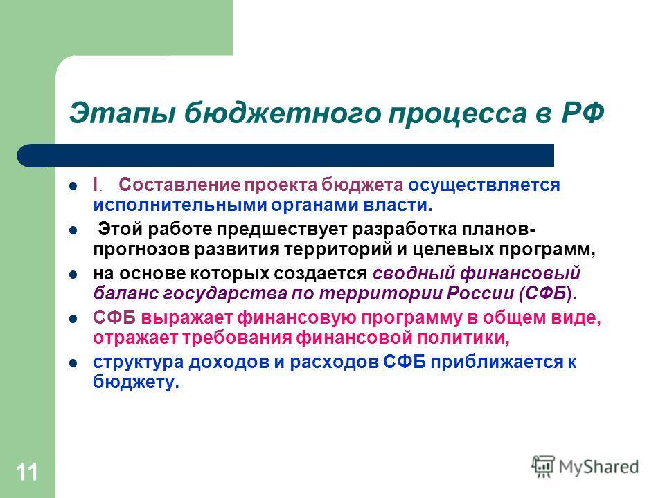 11 Этапы бюджетного процесса в РФ I. Составление проекта бюджета осуществляется исполнительными органами власти. Этой работе предшествует разработка планов- прогнозов развития территорий и целевых программ, на основе которых создается сводный финансо