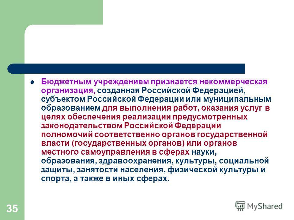 35 Бюджетным учреждением признается некоммерческая организация, созданная Российской Федерацией, субъектом Российской Федерации или муниципальным образованием для выполнения работ, оказания услуг в целях обеспечения реализации предусмотренных законод