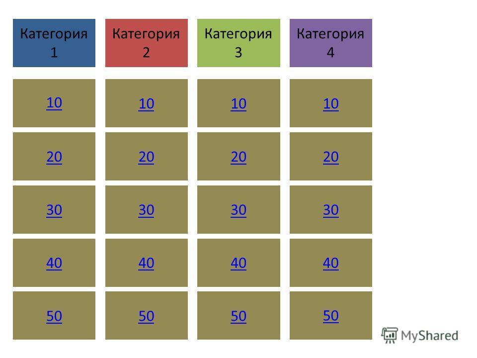В данной игровой панели можно ввести собственны е категории и значения в баллах. Введите вопросы и ответы в предоставле нных слайдах. В режиме слайд-шоу нажмите поле с числовым значением для перехода к соответству ющему вопросу, а затем нажмите еще р