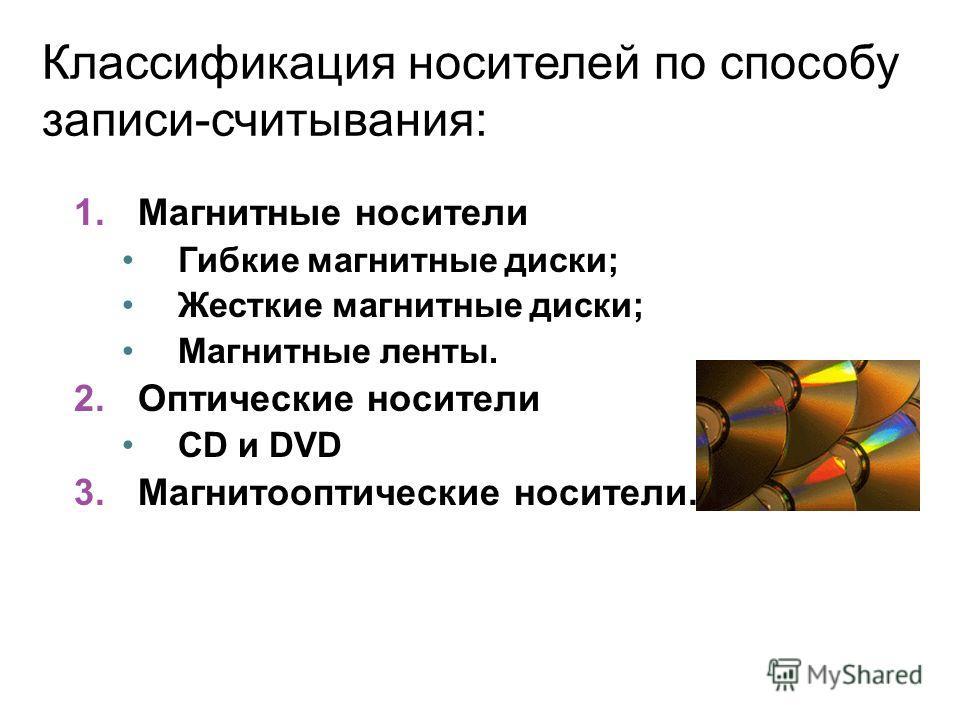 Классификация носителей по способу записи-считывания: 1.Магнитные носители Гибкие магнитные диски; Жесткие магнитные диски; Магнитные ленты. 2.Оптические носители CD и DVD 3.Магнитооптические носители.
