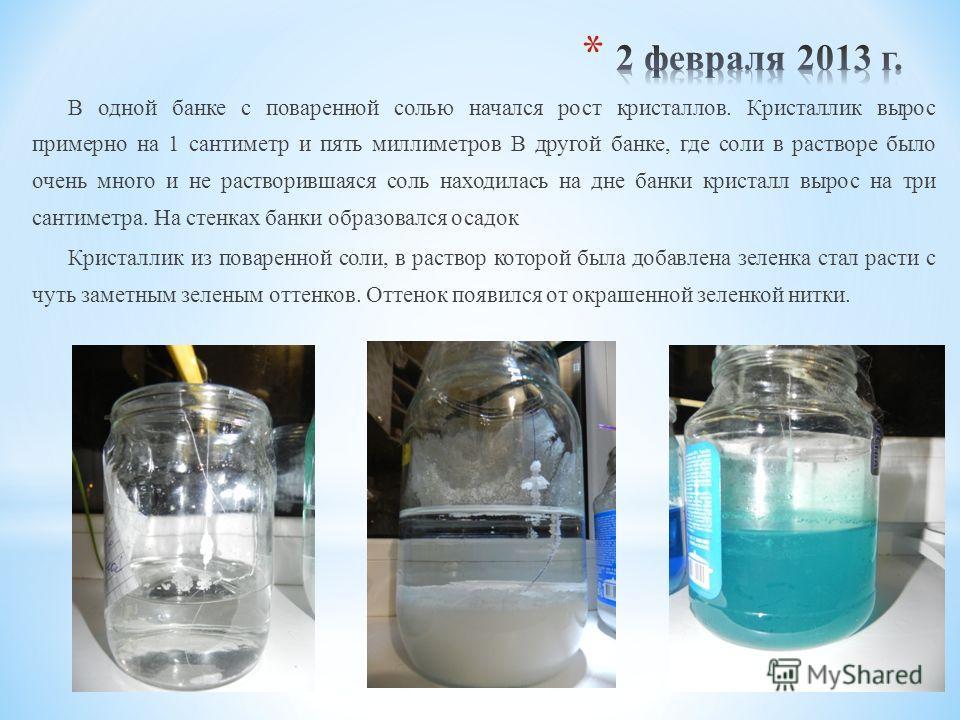 В одной банке с поваренной солью начался рост кристаллов. Кристаллик вырос примерно на 1 сантиметр и пять миллиметров В другой банке, где соли в растворе было очень много и не растворившаяся соль находилась на дне банки кристалл вырос на три сантимет