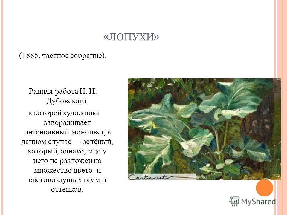 « ЛОПУХИ » (1885, частное собрание). Ранняя работа Н. Н. Дубовского, в которой художника завораживает интенсивный моноцвет, в данном случае зелёный, который, однако, ещё у него не разложен на множество цвето- и световоздушых гамм и оттенков.