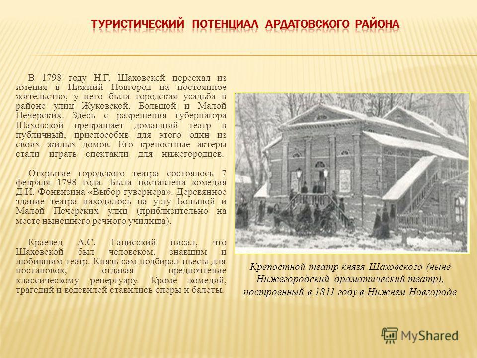 В 1798 году Н.Г. Шаховской переехал из имения в Нижний Новгород на постоянное жительство, у него была городская усадьба в районе улиц Жуковской, Большой и Малой Печерских. Здесь с разрешения губернатора Шаховской превращает домашний театр в публичный