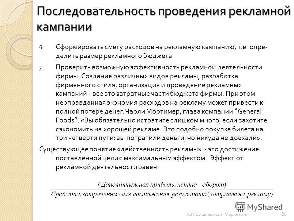 Последовательность проведения рекламной кампании А. П. Вишневская