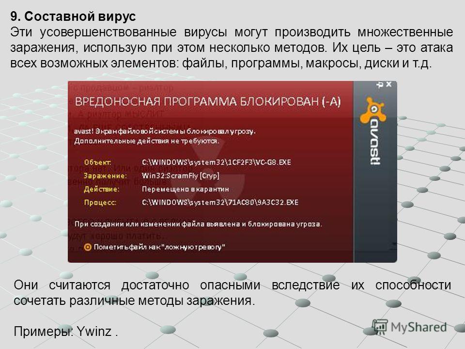 9. Составной вирус Эти усовершенствованные вирусы могут производить множественные заражения, использую при этом несколько методов. Их цель – это атака всех возможных элементов: файлы, программы, макросы, диски и т.д. Они считаются достаточно опасными