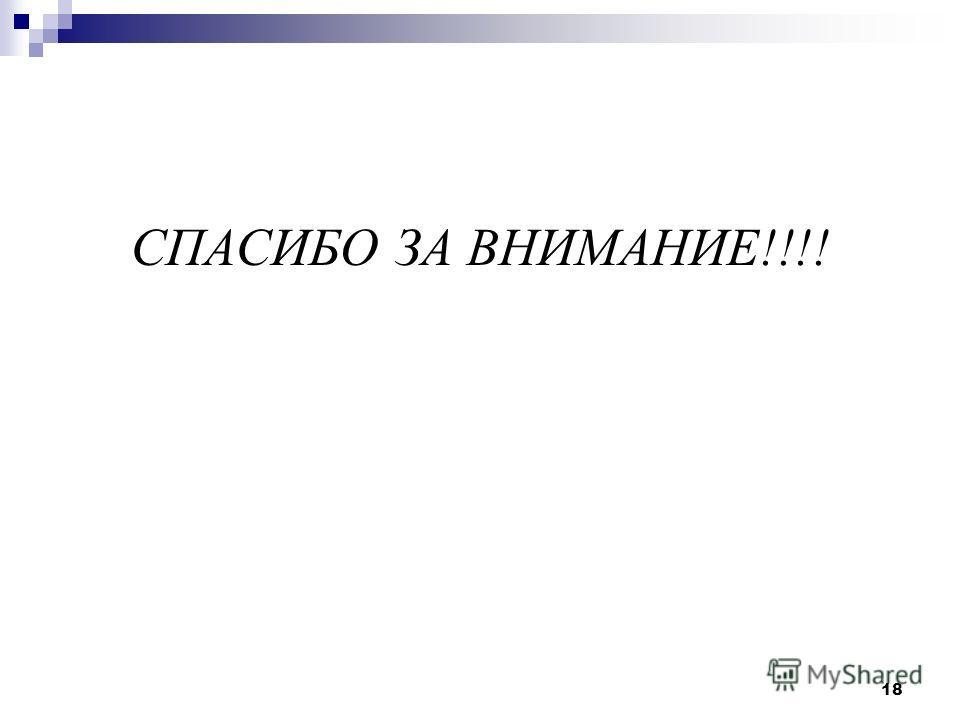 СПАСИБО ЗА ВНИМАНИЕ!!!! 18