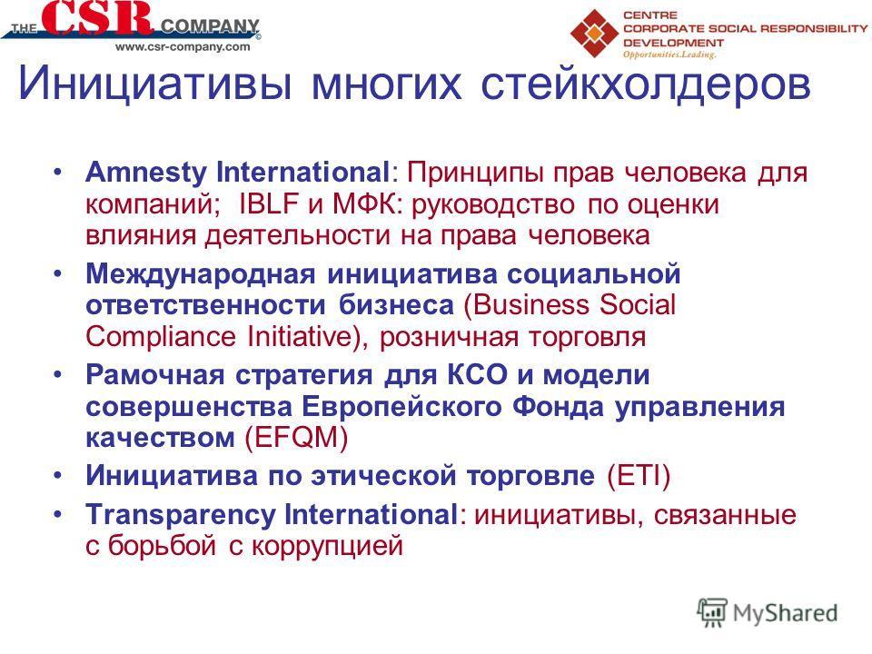 Инициативы многих стейкхолдеров Amnesty International: Принципы прав человека для компаний; IBLF и МФК: руководство по оценки влияния деятельности на права человека Международная инициатива социальной ответственности бизнеса (Business Social Complian