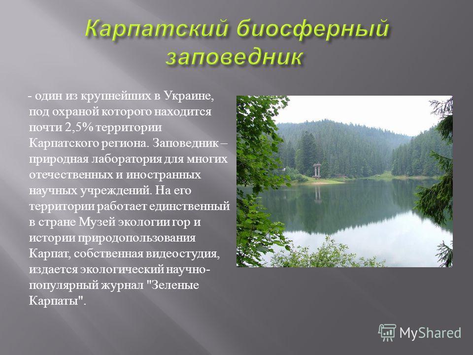 - один из крупнейших в Украине, под охраной которого находится почти 2,5% территории Карпатского региона. Заповедник – природная лаборатория для многих отечественных и иностранных научных учреждений. На его территории работает единственный в стране М