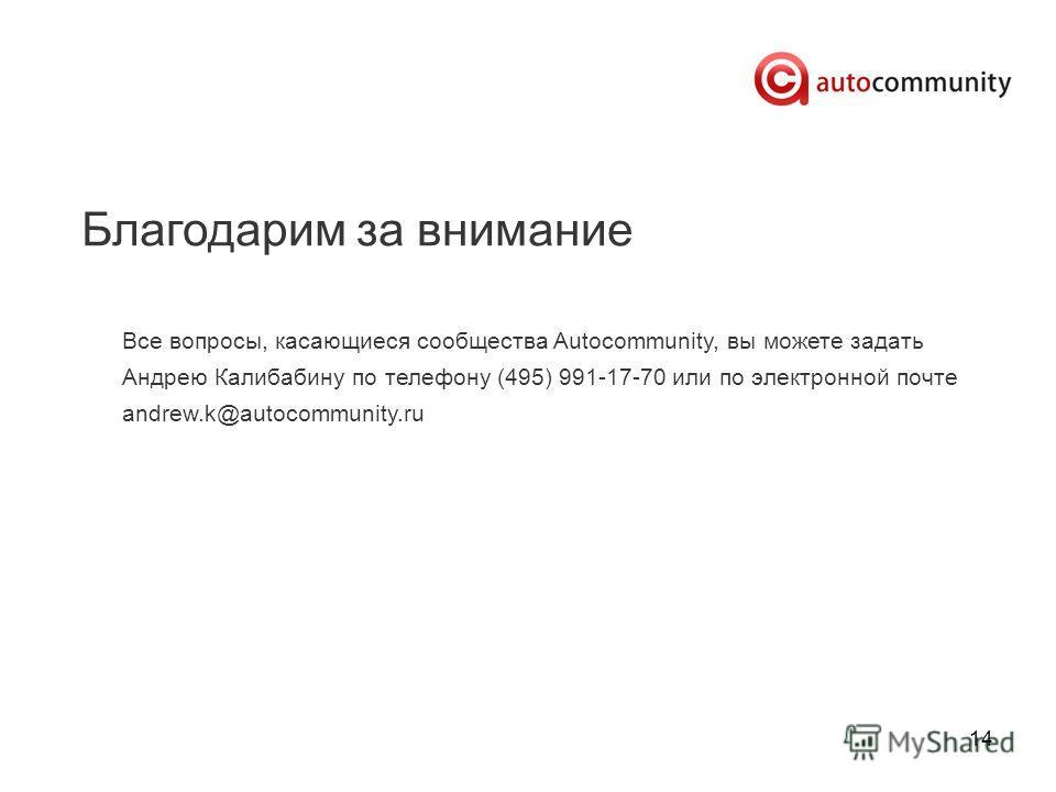 14 Благодарим за внимание Все вопросы, касающиеся сообщества Autocommunity, вы можете задать Андрею Калибабину по телефону (495) 991-17-70 или по электронной почте andrew.k@autocommunity.ru