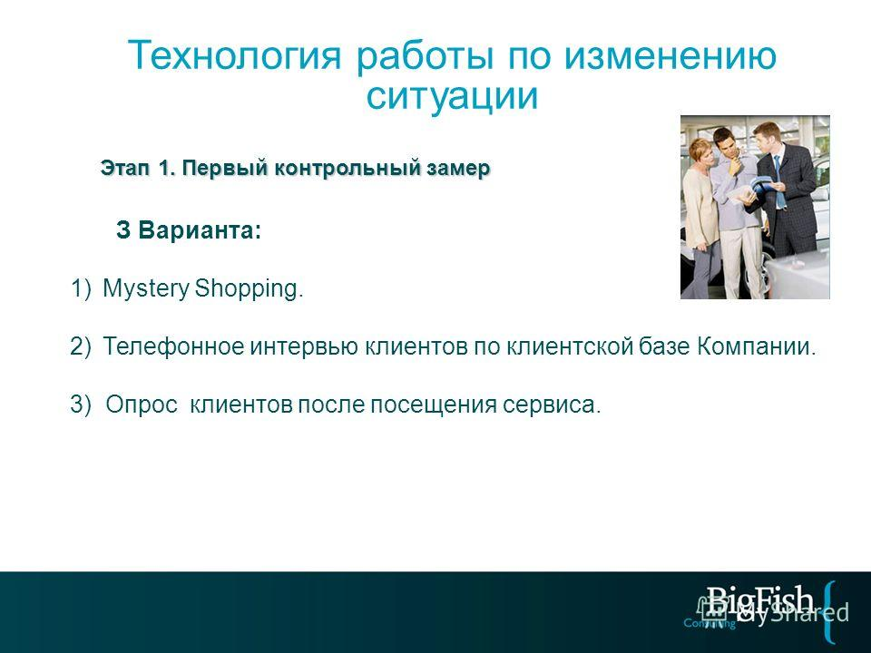 Этап 1. Первый контрольный замер Этап 1. Первый контрольный замер З Варианта: 1)Mystery Shopping. 2)Телефонное интервью клиентов по клиентской базе Компании. 3) Опрос клиентов после посещения сервиса. Технология работы по изменению ситуации