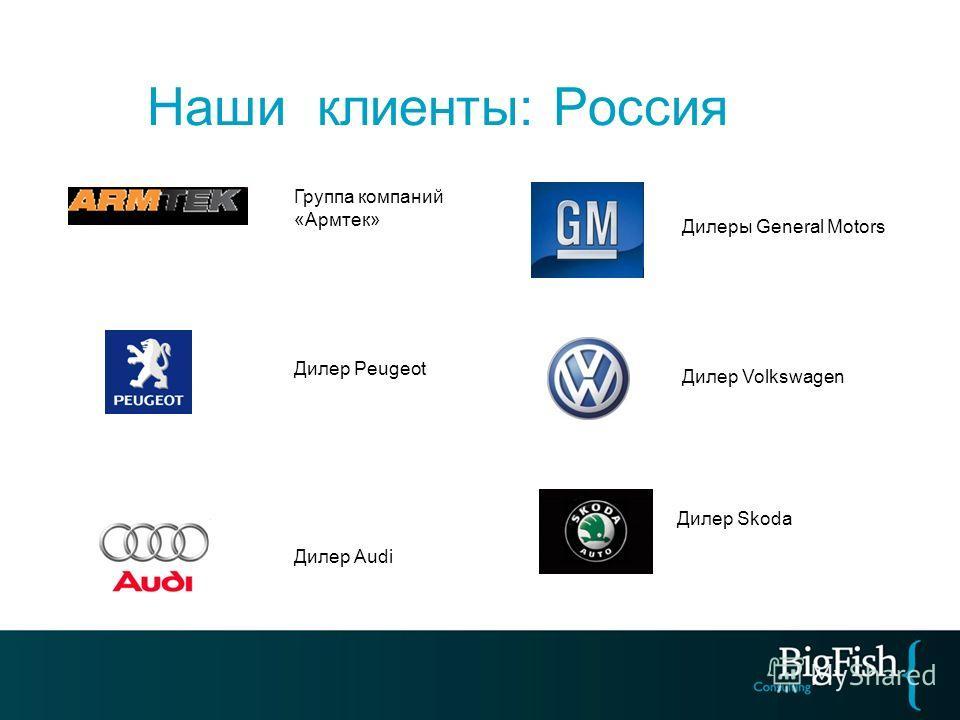 Наши клиенты: Россия Группа компаний «Армтек» Дилеры General Motors Дилер Audi Дилер Peugeot Дилер Skoda Дилер Volkswagen