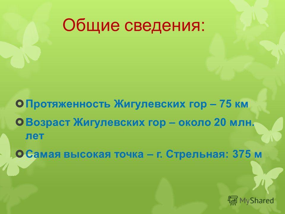 Общие сведения: Протяженность Жигулевских гор – 75 км Возраст Жигулевских гор – около 20 млн. лет Самая высокая точка – г. Стрельная: 375 м