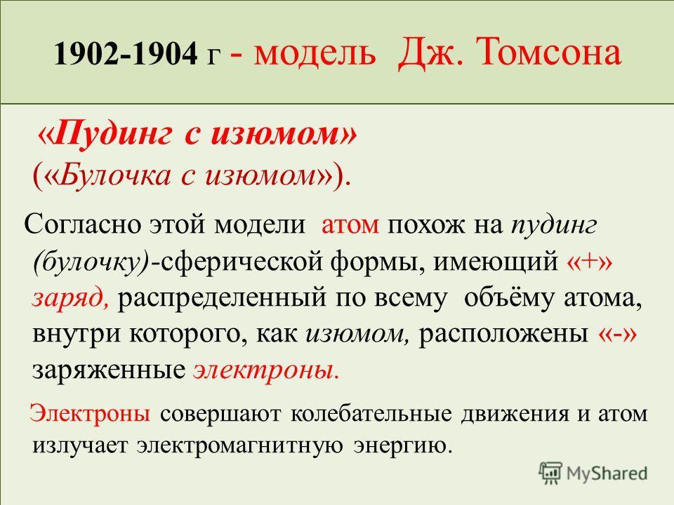 1902-1904 г - модель Дж. Томсона «Пудинг с изюмом» («Булочка с изюмом»). Согласно этой модели атом похож на пудинг (булочку)-сферической формы, имеющий «+» заряд, распределенный по всему объёму атома, внутри которого, как изюмом, расположены «-» заря